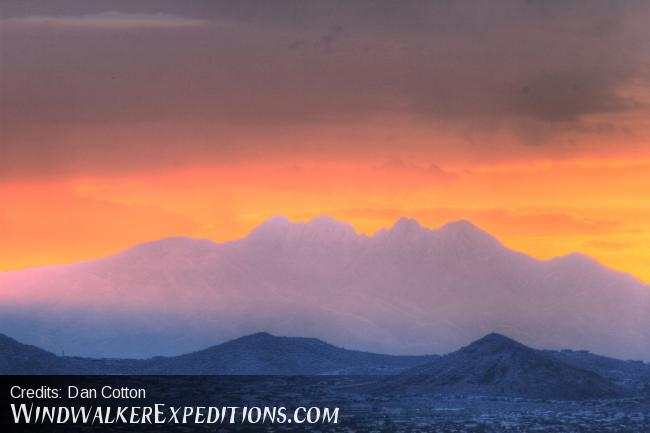 Sunrise photograph of Four Peaks, Arizona