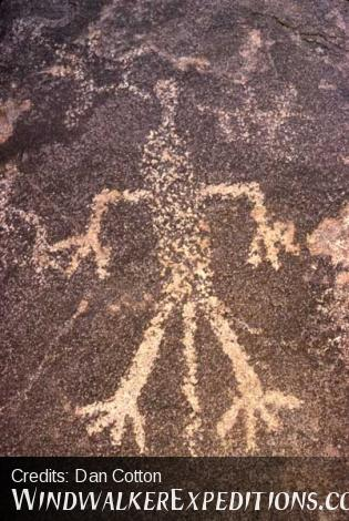 Shaman or chieftan petroglyph with headress