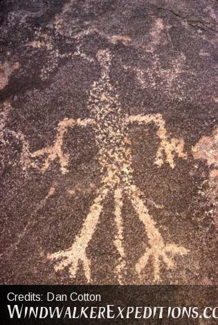 Shaman or chieftan petroglyph with headress